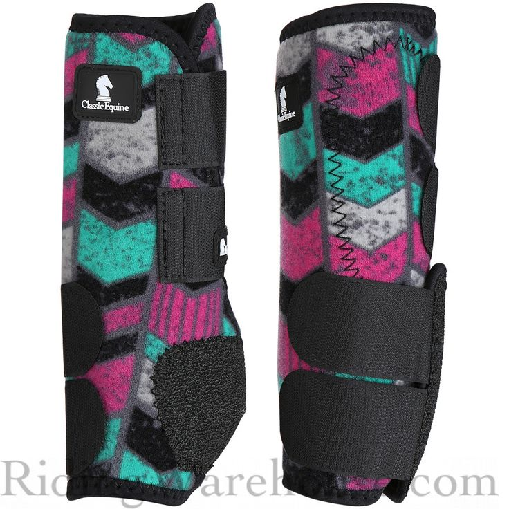 Classic Equine Legacy System Front Boots Grey Chevron - turquoise and hot pink chevron. Stand out in the arena! #barrelracing #aqha #horses #classicequine