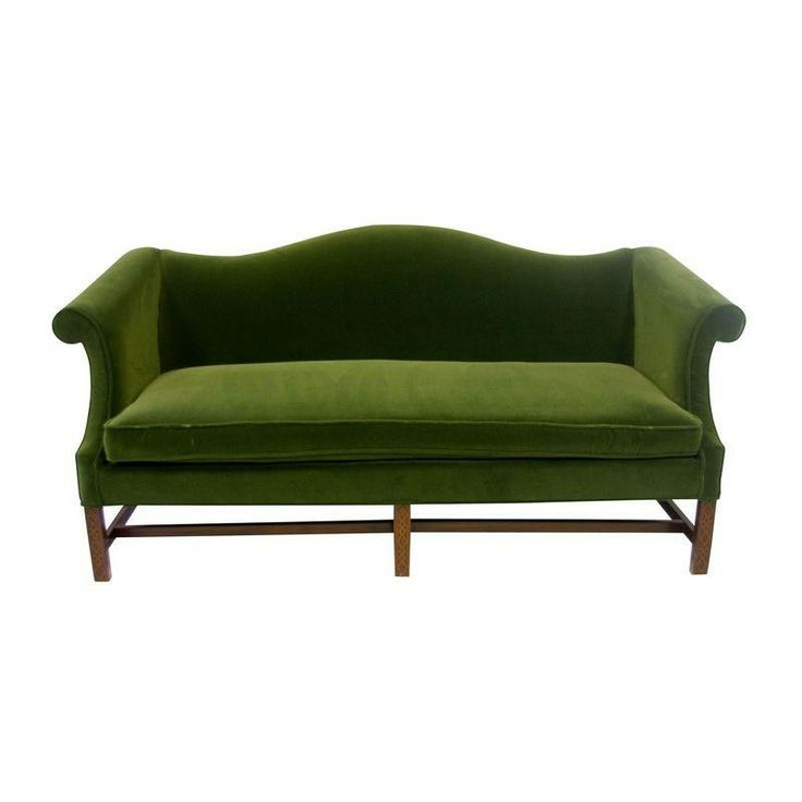 Green Velvet Camelback Sofa With Fretwork Legs Products