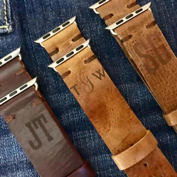 Personalized Distressed Leather Apple watch Band With Free