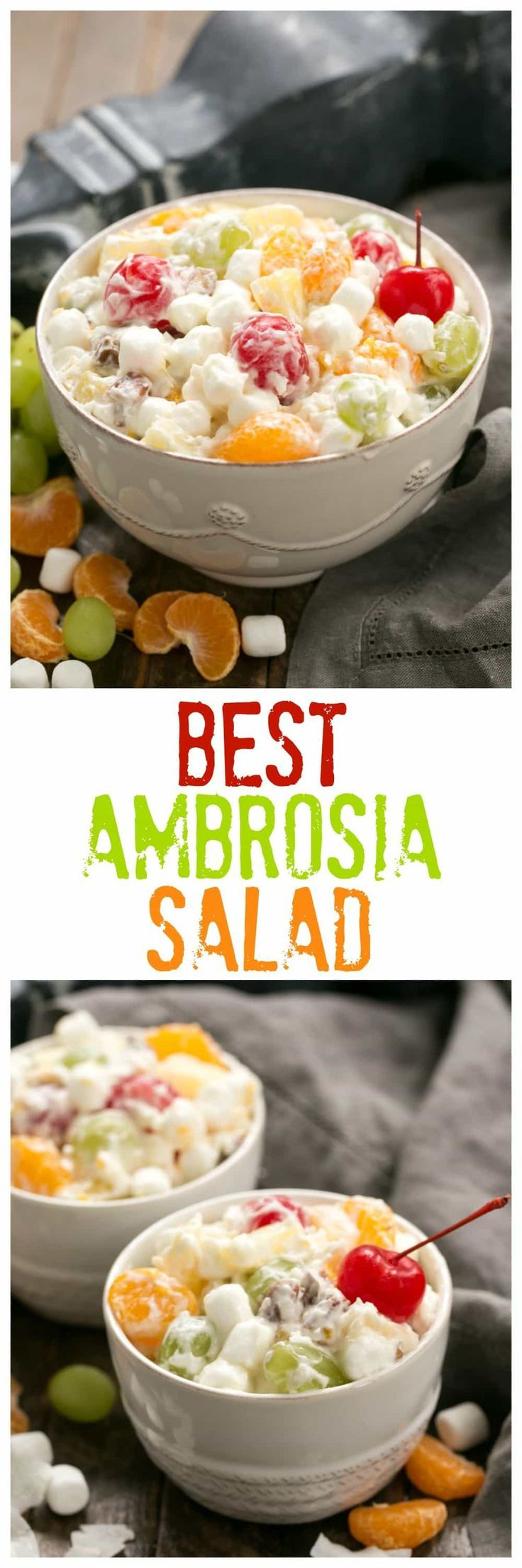 The Best Ambrosia Salad {No Cool Whip} | A dreamy fruit and coconut salad with marshmallows and pecans. #salad #holidayrecipe #ambrosia