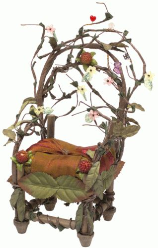 ♧ Charming Fairy Cottages ♧ garden faerie gnome & elf houses & miniature furniture - fae chair