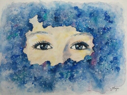 Behind the stars Watercolour painting by Shoya 30x40 cm