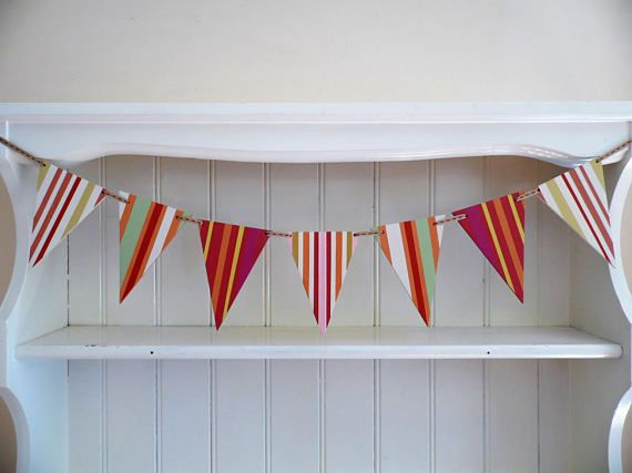 Deck Chair Stripe Bunting-Hand painted-Wooden