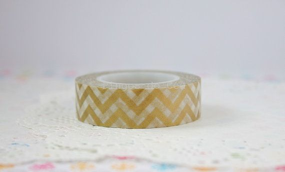 Chevron Washi Tape - Gold Washi Tape - Gift Wrapping - Paper Decor - Scrapbooking - 1 Roll - 10 mt - Ready to Ship