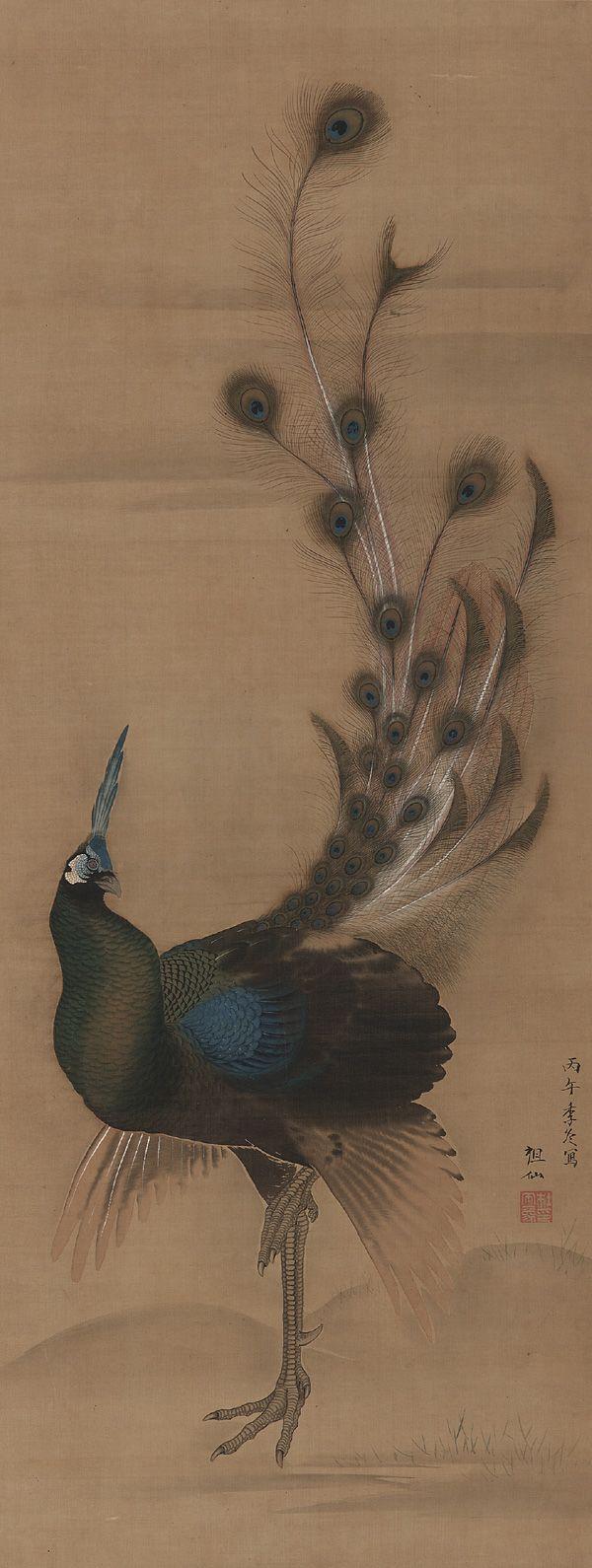 MORI Sosen(森 狙仙/祖仙 Japanese, 1747-1821)    A Peacock 孔雀図 late 18th century    Color and ink on silk