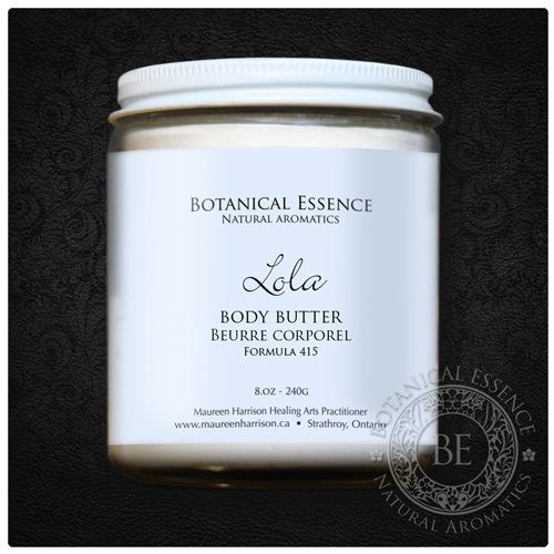 Lola Body Butter A light creamy, moisturizing body butter made with natural and organic ingredients.  Lola...a refreshing sweet/fruity aroma wrapped in a warm base of cocoa and vanilla absolute and just a hint of coconut.