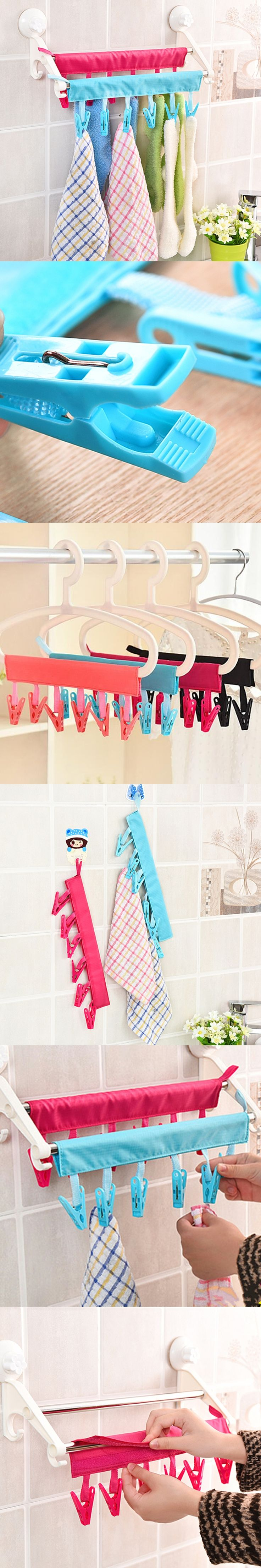 Multifunction plastic Portable Bathrooms Cloth Hanger Rack,Clothespin BusinessTravel Folding Cloth Hanger Clips,Free shipping.