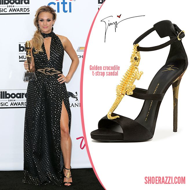Carrie Underwood in Giuseppe Zanotti Gold Crocodile Sandals - ShoeRazzi