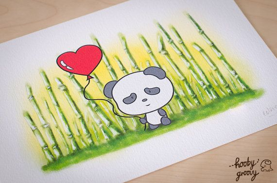 Summer Panda 5 x 7 inch Art Print by HoobyGroovy on Etsy, $14.95