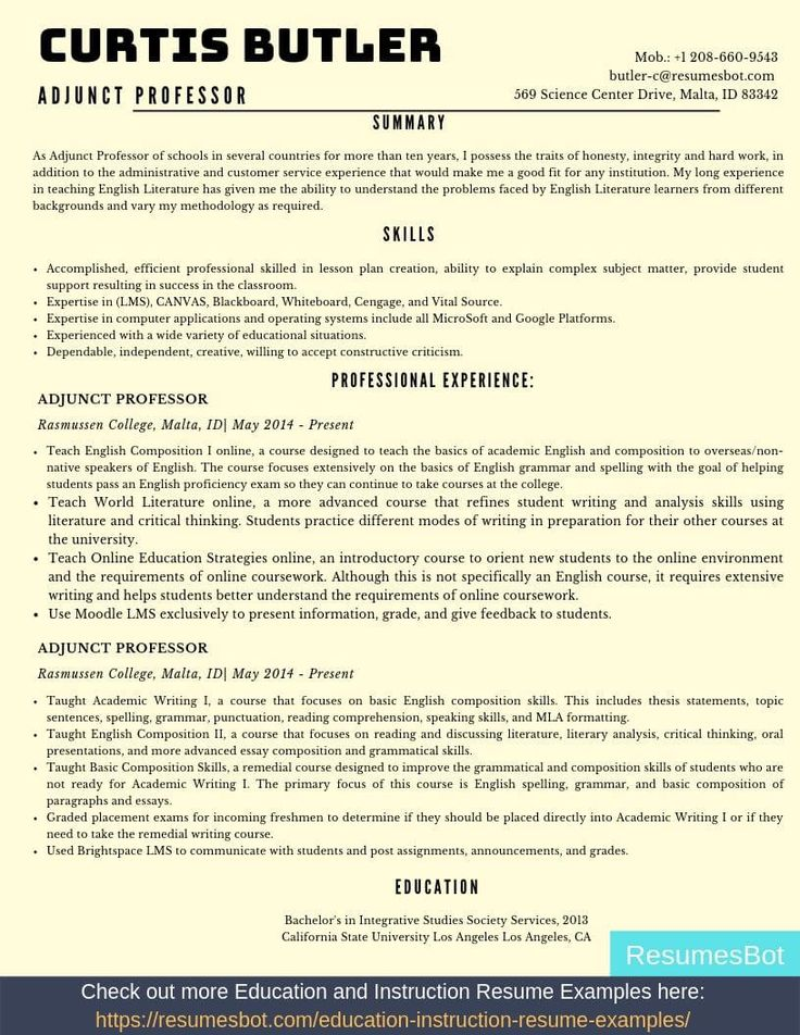 Adjunct Professor Resume Samples & Templates [PDF+DOC