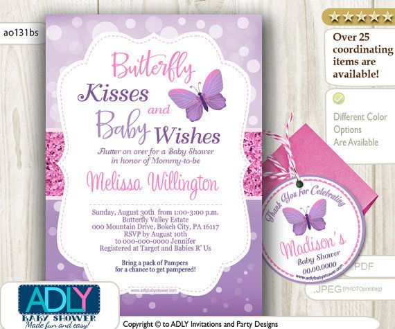 Instant Download! Purple Pink Glitter Butterfly Invitation for Baby Shower + FREE BONUS Butterfly Thank You Circle Tag.  No need to wait!