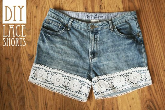 LACE!Women Fashion, Woman Fashion, Diy Lace, Diy Clothing, Denim Shorts, Jeans Shorts, Lace Shorts, Crafts, Old Jeans
