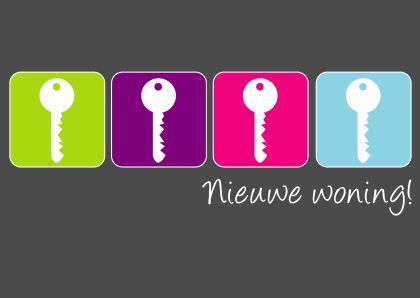 nieuwe woning sleutels - Verhuiskaarten - Kaartje2go