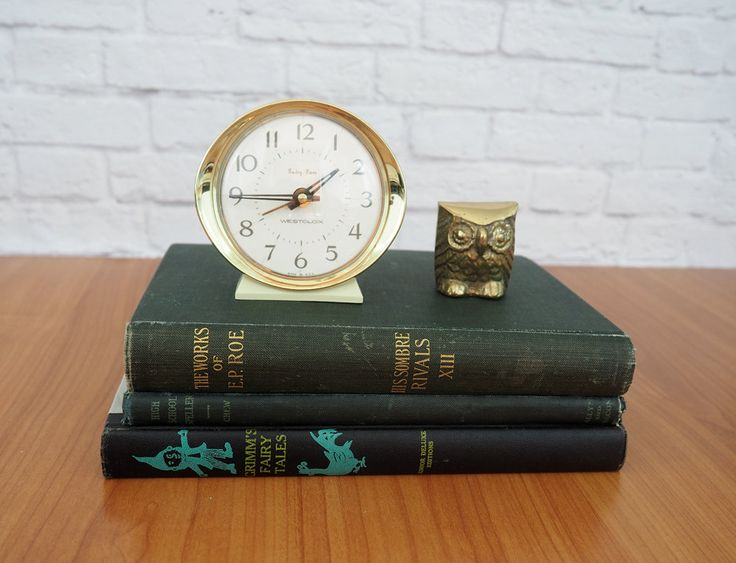 Vintage Westclox Baby Ben Wind Up Alarm Clock White and Gold by FireflyVintageHome on Etsy