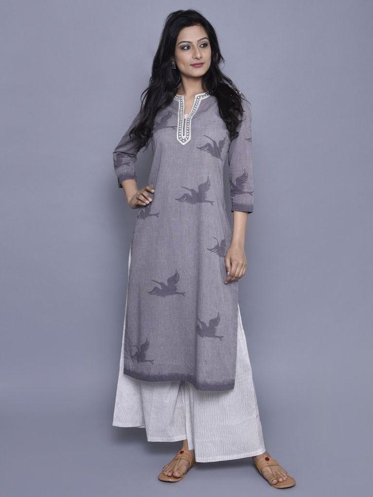 Grey Embroidered Chambray Cotton Kurta