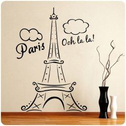 Paris Eiffel Tower wall decal, cute for little girl's room