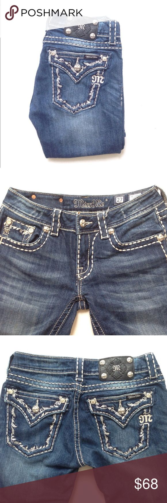 """Miss Me Boot Cut Jeans Miss Me Boot Cut Jeans Js5014B46. Inseam 33"""". May have some line wear near the bottom from folding, other than that in great condition. Miss Me Jeans Boot Cut"""