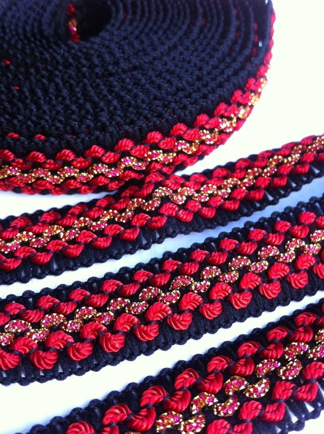 Red, Black & Gold Vintage Braid 5m