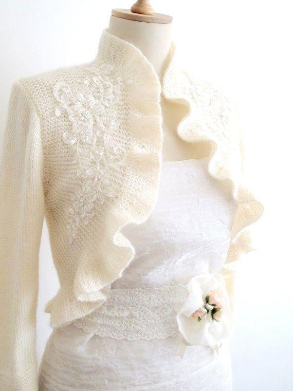 Bridal Shrug Ruffle Bolero Bride Boleros with by crochetbutterfly, $95.00    Will be chilly in November….w/jeans?