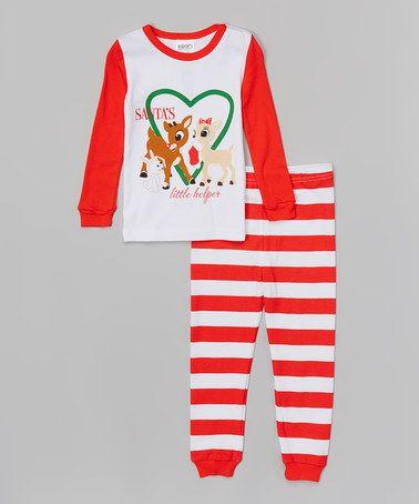 Love this Red Stripe 'Santa's Little Helper' Pajama Set - Infant & Toddler on #zulily! #zulilyfinds