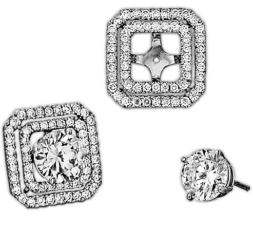 Spark Creations - EJ 5124 0.64 CT DIAMOND EARRING JACKET (CENTER FOR 1.00 CT EACH)
