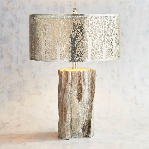 Etched Birches Silver Table Lamp | Pier 1 Imports