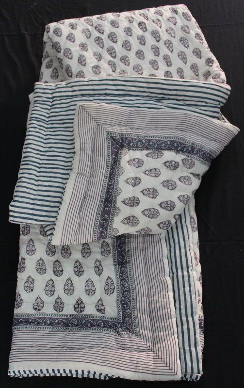 Hand Block Printed Jaipuri Razai Solid White Cotton Print hand Filling Quilt KH1 #KhushiHandicraft #ArtDecoStyle
