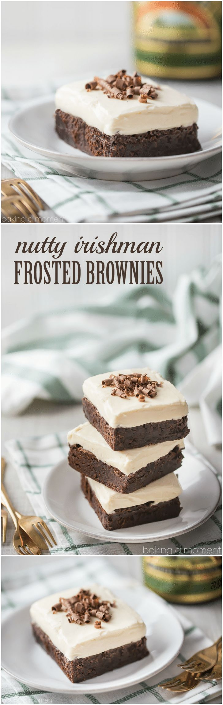Nutty Irishman Frosted Brownies: Omg the combination of Bailey's, hazelnut, and fudgy chocolate brownie is insane!  Really simple and straightforward recipe, I'll definitely be making it again.   food desserts chocolate via @Allie Baking a Moment