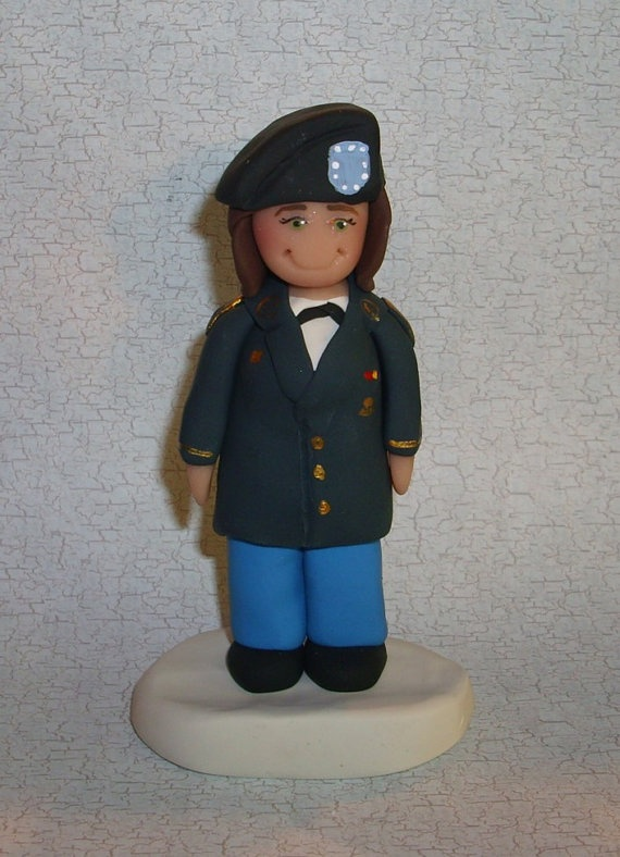 Female Army Soldier Figurine Cake Topper by gingerbabies on Etsy