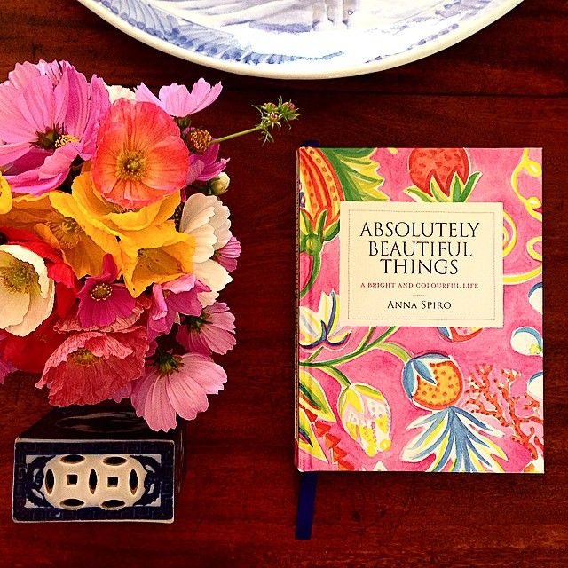 colours, flowers and book, touch of blue