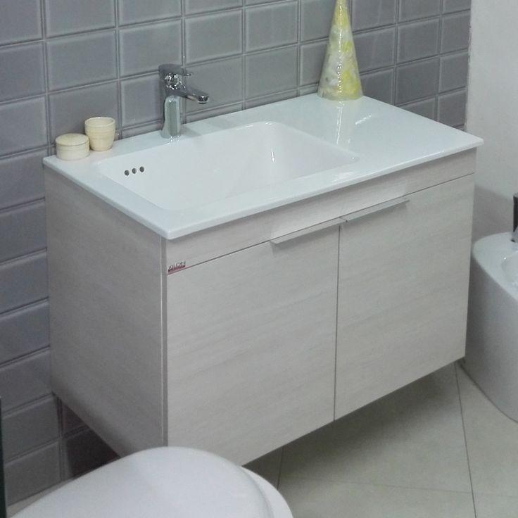"""NancoPiù from """"Arte della costruzione"""", Veroli (FR).  Pictured cabinet Larice Iris with washbasin ceramica with integrated top, right or left, deep 20cm (7.85 in)."""