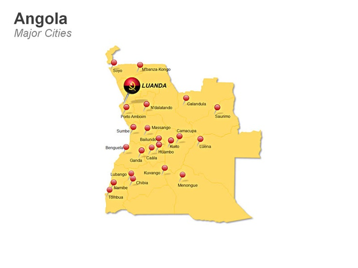 Editable PowerPoint Map: Angola Map