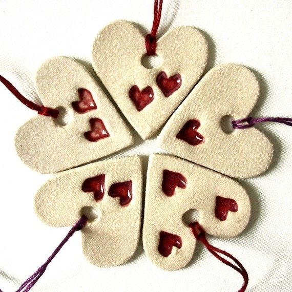 Clay Valentines Day Ornaments Hand stamped by PrinceDesignUK, $15.00