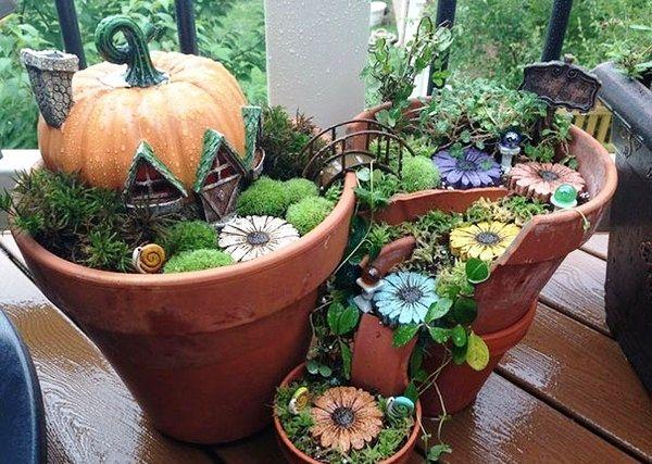 Миниатюрный сад из цветочного горшка. Идеи