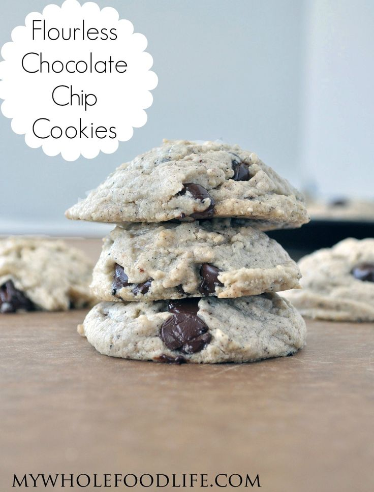 The BEST Flourless Chocolate Chip Cookies.  These contain no beans or any other funky ingredients.  Just 5 simple ingredients.  These taste seriously decadent and they contain no butter, no oil and no processed sugars.  They can be made in under 20 minutes. #vegan #glutenfree #grainfree #cookies #healthy