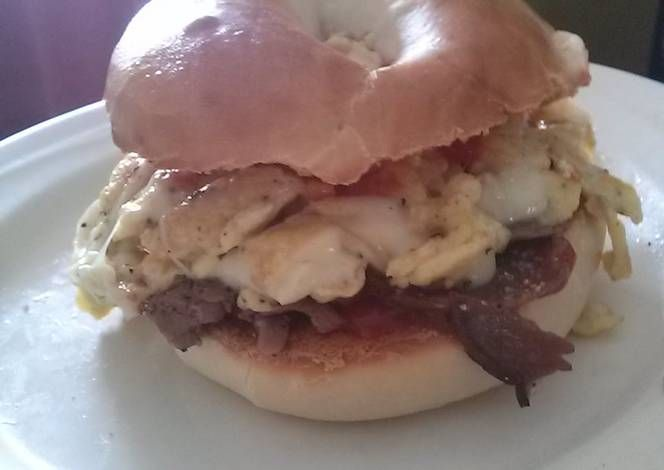 Dean's Kick-Ass Egg Steak And Cheese Bagel. Recipe -  Yummy this dish is very delicous. Let's make Dean's Kick-Ass Egg Steak And Cheese Bagel. in your home!