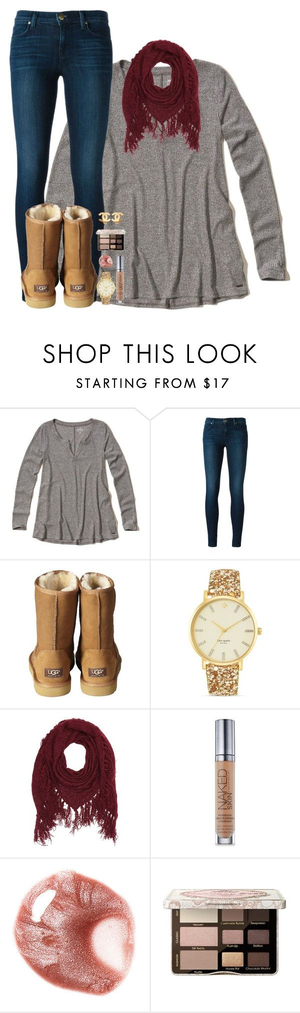 """braces are horrible😵"" by mehanahan ❤ liked on Polyvore featuring Hollister Co., J Brand, UGG Australia, Kate Spade, Charlotte Russe, Urban Decay, Too Faced Cosmetics and Chanel"