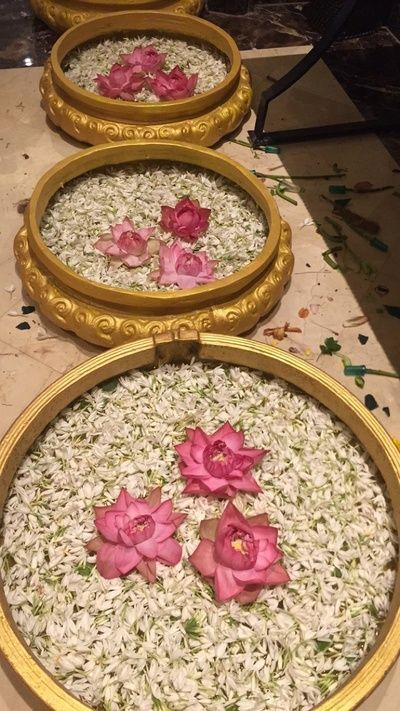 Brass utensils with lotus motifs