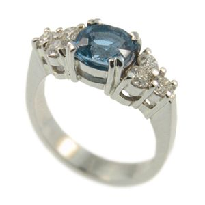 Platinum Cushion Cut Aquamarine & Diamond Ring. Handmade at Cameron Jewellery