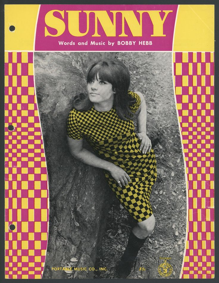 """This 1968 sheet music features a black and white photo, enhanced by lots of colorful checkers. The music is for the song """"Sunny,"""" which became one of the most covered songs of all time, with versions by Cher, Frank Sinatra, and the Four Seasons."""
