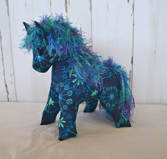 Horse soft toy Blue stuffed toy Horse plushy by RobynFayeDesigns