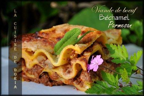 Baked Lasagnes with Meat Sauce - Lasagnes au four et sauce à la viande - La cuisine de Doria