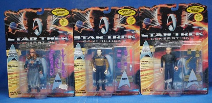 Star Trek Generations 1994 Figure Set of 3 Playmates Data Dr Soran B'etor #PlaymatesToys