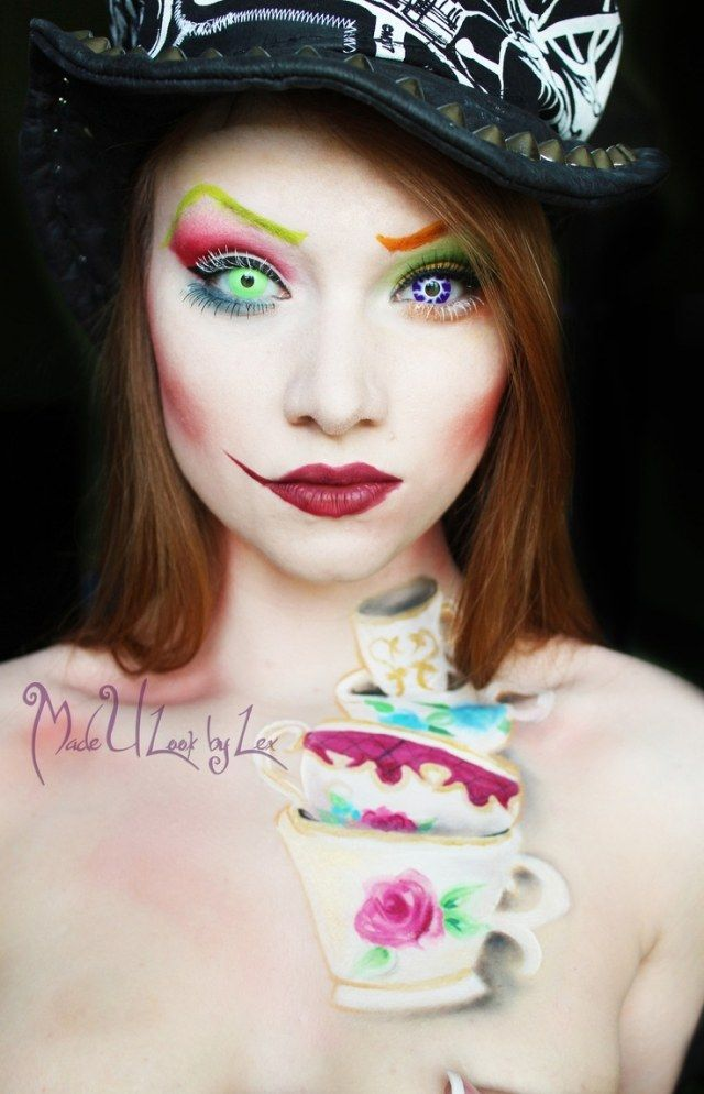 idee halloween schminke frau mad hatter body paint teetassen