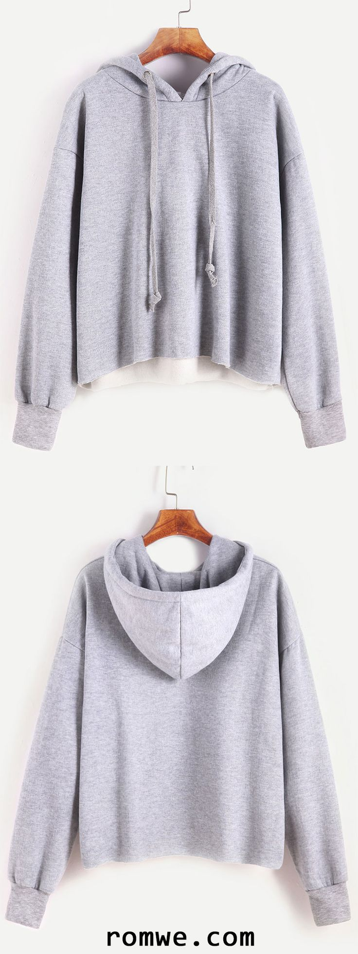 Pale Grey Dropped Shoulder Seam Hooded Sweatshirt