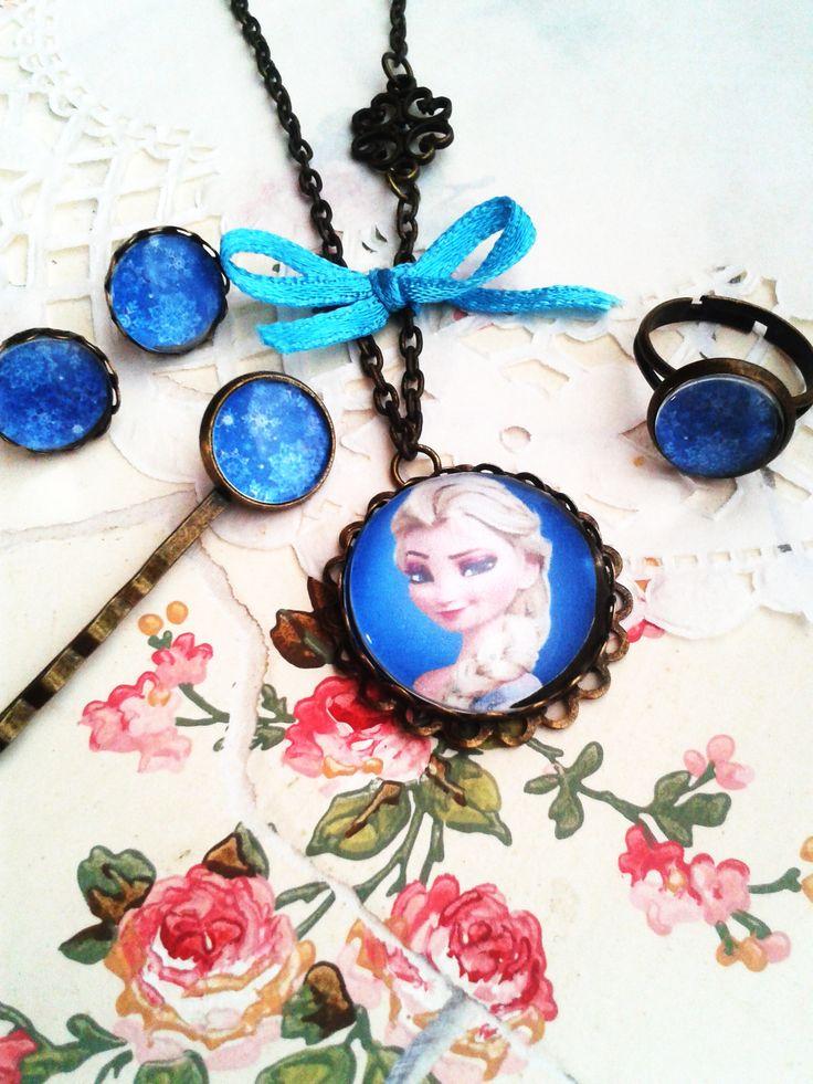 Disney Elza szett kislány ékszer, mesés nyaklánc kis hercegnők örömére (vintage, jewerly, necklase, Disney Princess, Minnie, Frozen)