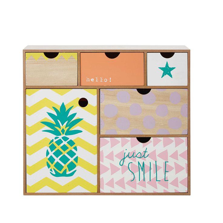 Box mit 6 Schubladen aus Holz H 35 cm ALIX