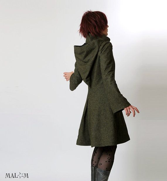 Steampunk Coat Womens green coat with Goblin Hood and by Malam, $486.11