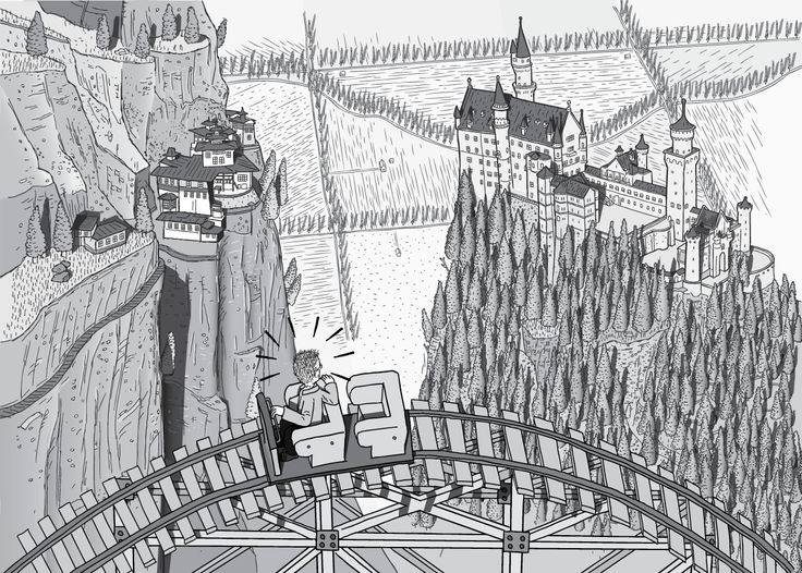 High angle side view of man in roller coaster car looking to the ground far below. Panoramic view of Neuschwanstein Castle and Neuschwanstein Castle (a.ka. Taktsang Palphug Monastery). Black and white cartoon drawing of surprised man in rollercoaster.  Image from Stuart McMillen's comic Peak Oil (2015), from the book Thermoeconomics (2017).