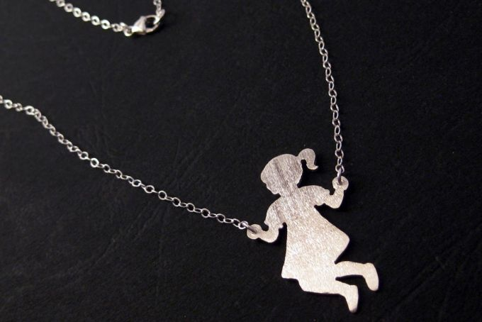 Little Girl Jumping Rope Necklace - Sterling Silver by OffbeatMelody